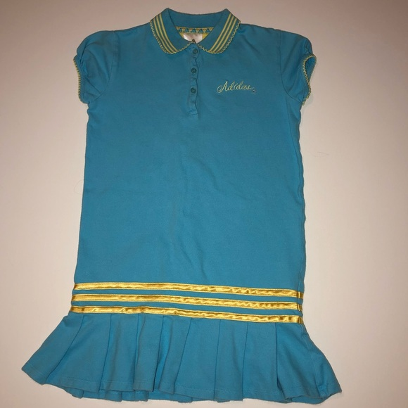 adidas Other - Adidas Tennis Dress Aqua Blue with Yellow Stripes